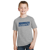 Youth Grey T-Shirt-Monmouth Hawks Stacked