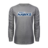 Grey Long Sleeve T Shirt-Monmouth Hawks