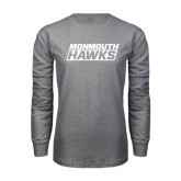 Grey Long Sleeve T Shirt-Monmouth Hawks Stacked