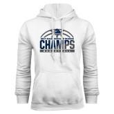 White Fleece Hoodie-2017 MAAC Regular Season Basketball Champs Half Ball