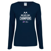 Ladies Navy Long Sleeve V Neck Tee-2019 Mens Tennis Conference Champions