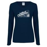 Ladies Navy Long Sleeve V Neck Tee-2019 MAAC Softball Champions