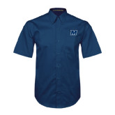 Navy Twill Button Down Short Sleeve-M