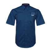 Navy Twill Button Down Short Sleeve-Football