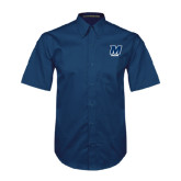 Navy Twill Button Down Short Sleeve-Sailing