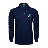 Navy Long Sleeve Polo-Hawk with M