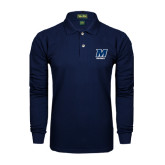 Navy Long Sleeve Polo-Football