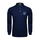 Navy Long Sleeve Polo-Baseball