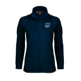Ladies Fleece Full Zip Navy Jacket-Football