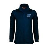 Ladies Fleece Full Zip Navy Jacket-Baseball