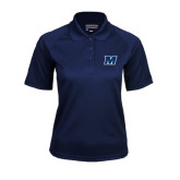 Ladies Navy Textured Saddle Shoulder Polo-M