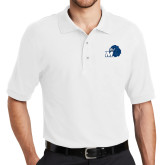 White Easycare Pique Polo-Hawk with M
