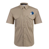 Khaki Short Sleeve Performance Fishing Shirt-Hawk with M