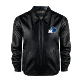 Black Leather Bomber Jacket-Hawk with M