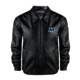 Black Leather Bomber Jacket-M