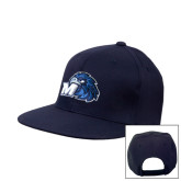 Navy Flat Bill Snapback Hat-Hawk with M