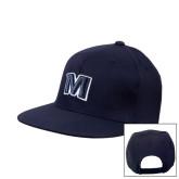 Navy Flat Bill Snapback Hat-M