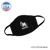 USA Made Black 2 Ply Cotton Mask-Facemask Logo