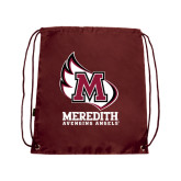 Nylon Maroon Drawstring Backpack-Primary Mark