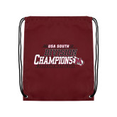 Nylon Maroon Drawstring Backpack-2017 USA South Division Softball Champions