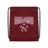 Maroon Drawstring Backpack-2018 Womens Lacrosse Champions Back of Shirt