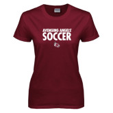 Ladies Maroon T Shirt-Soccer Design