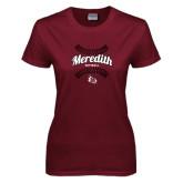 Ladies Maroon T Shirt-Softball Design