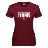 Ladies Maroon T Shirt-Tennis Design
