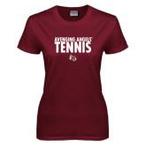 Ladies Maroon T Shirt-Tennis Design