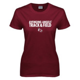 Ladies Maroon T Shirt-Track & Field Design