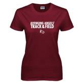 Ladies Maroon T Shirt-Track & Field Design