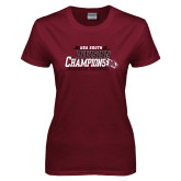 Ladies Maroon T Shirt-2017 USA South Division Softball Champions