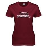 Ladies Maroon T Shirt-2017 USA South Division Softball Champions