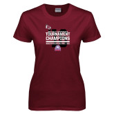 Ladies Maroon T Shirt-2016 USA South Volleyball Tournament Champions
