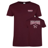 Ladies Maroon T Shirt-2018 Womens Lacrosse Champions Back of Shirt
