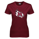 Ladies Maroon T Shirt-M Wing Icon