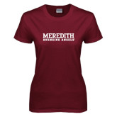Ladies Maroon T Shirt-Wordmark