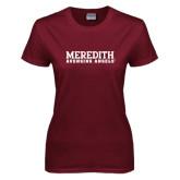 Ladies Maroon T Shirt-Wordmark