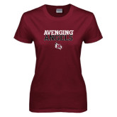 Ladies Maroon T Shirt-Avenging Angels Stacked