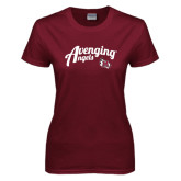 Ladies Maroon T Shirt-Avenging Angels Script