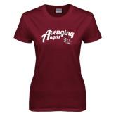 Ladies Maroon T Shirt-Avenging Angels Script