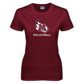 Ladies Maroon T Shirt-Volleyball