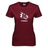 Ladies Maroon T Shirt-Tennis