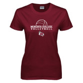 Ladies Maroon T Shirt-Volleyball Design