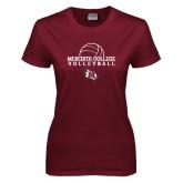 Ladies Maroon T Shirt-Volleyball Design