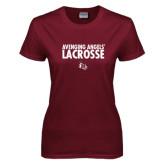 Ladies Maroon T Shirt-Lacrosse Design