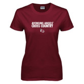 Ladies Maroon T Shirt-Cross Country Design