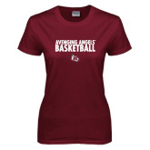 Ladies Maroon T Shirt-Basketball Design