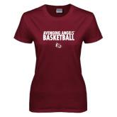 Ladies Maroon T Shirt-Basketball Design