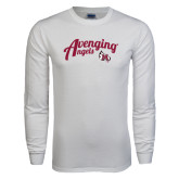 White Long Sleeve T Shirt-Avenging Angels Script